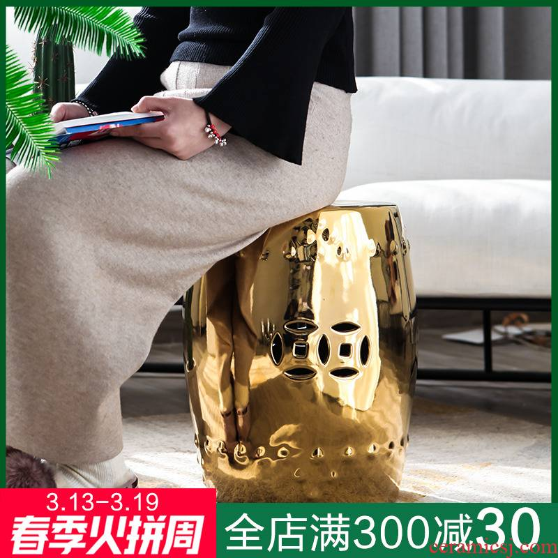 New Chinese style example room living room floor furnishing articles of jingdezhen ceramic hollow out who golden who toilet who in shoes