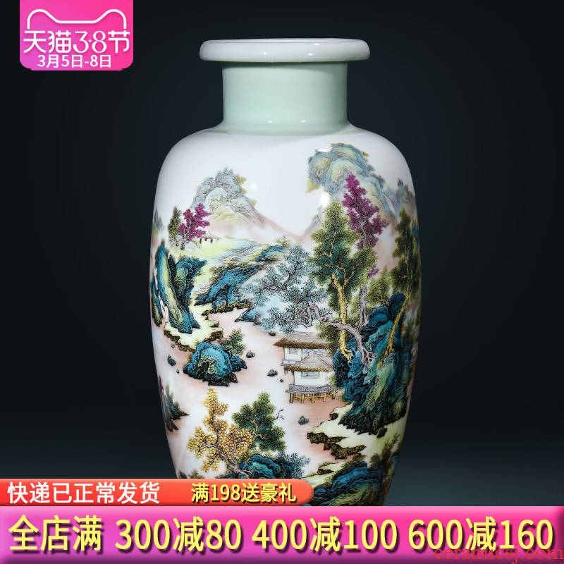 Jingdezhen ceramics vase furnishing articles khe sanh fishing modern new Chinese style sitting room adornment is placed gifts