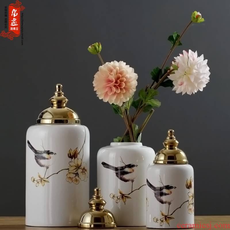 Jingdezhen ceramic furnishing articles gold - plated vase European - style home sitting room porch table desktop decoration ideas