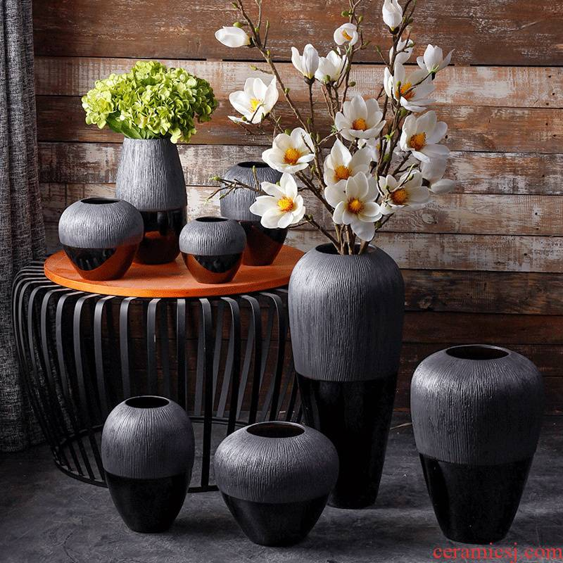 I and contracted ceramic vase mesa landing simulation flower flower flower arranging furnishing articles dried flowers combination home decoration