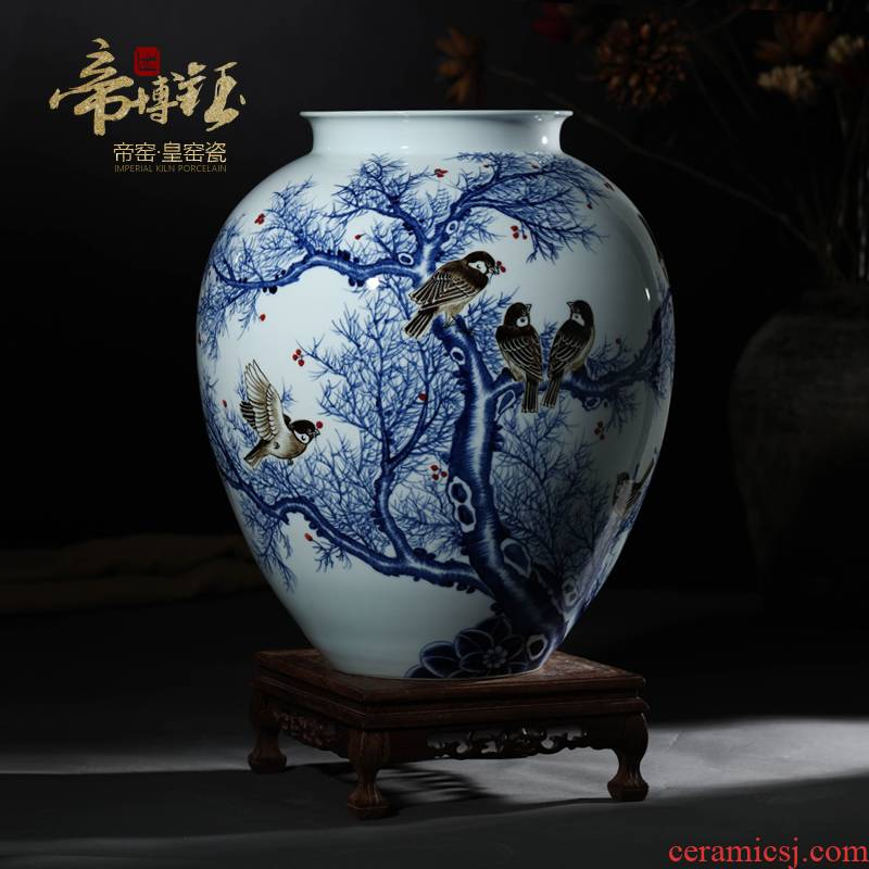 Jingdezhen ceramics hand - made of blue and white porcelain vase flower arranging the vibrant new Chinese style household adornment furnishing articles