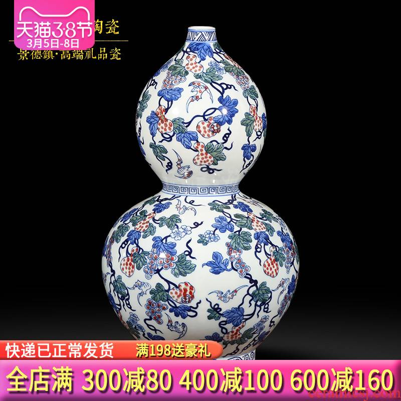 Jingdezhen ceramics hand - made fortune gourd antique Chinese blue and white porcelain vase wine sitting room adornment is placed