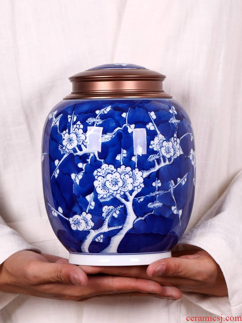 Hand made blue and white porcelain tea pot ceramic household seal can save receives large scattered tea store tea set a kilo