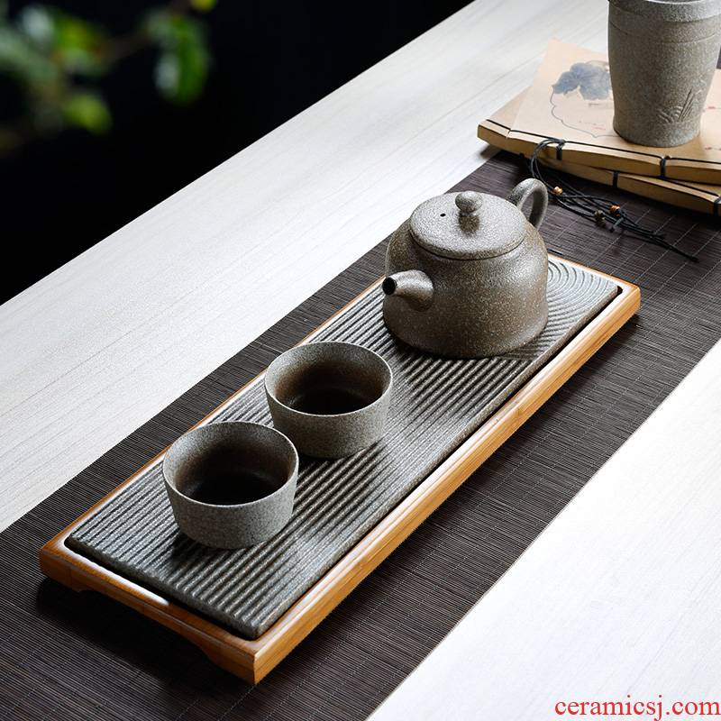 Japanese contracted ceramic dry little household mini ground tea table kung fu tea set one or two people use bamboo trays