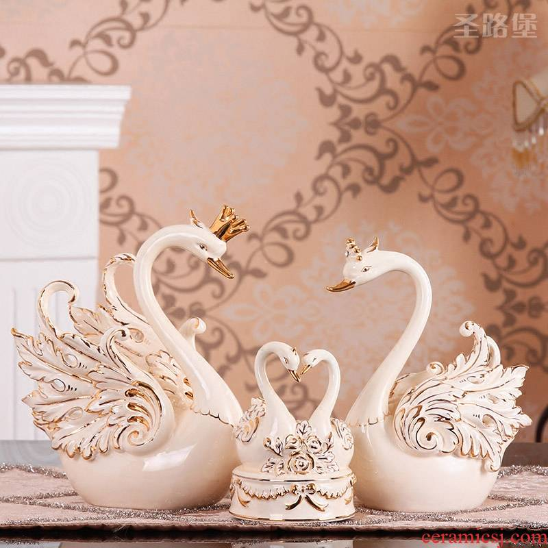 European furnishing articles creative home decoration new romantic move ceramic swan music box of girlfriends wedding gift