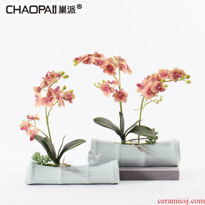 New Chinese style ceramic simulation dried flowers, bamboo flower art furnishing articles suit example room sitting room dining - room table soft decoration