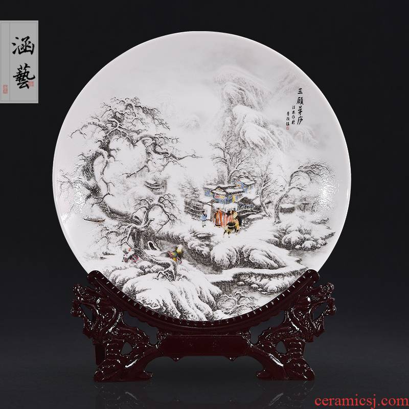 Jingdezhen ceramics of three sit landscape decoration plate hanging dish plates home furnishing articles of handicraft ornament