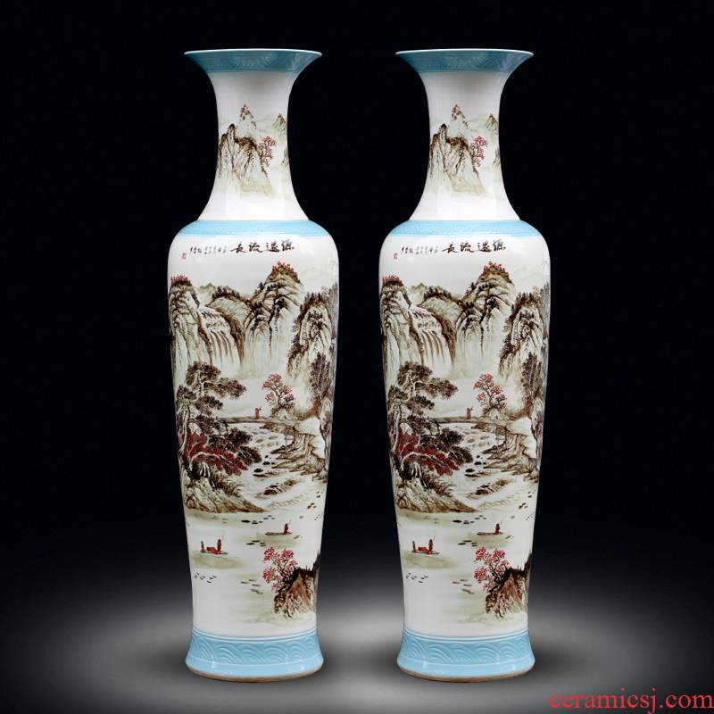 Jingdezhen hand - made color ink landscape ceramic vase of large new Chinese style living room decorate bottle hotel furnishing articles