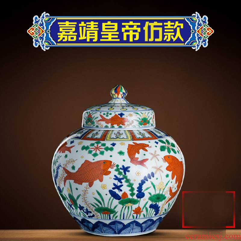 Better sealed up the hand - made big vase general blue and white porcelain jar of archaize sitting room place jingdezhen ceramic decorations