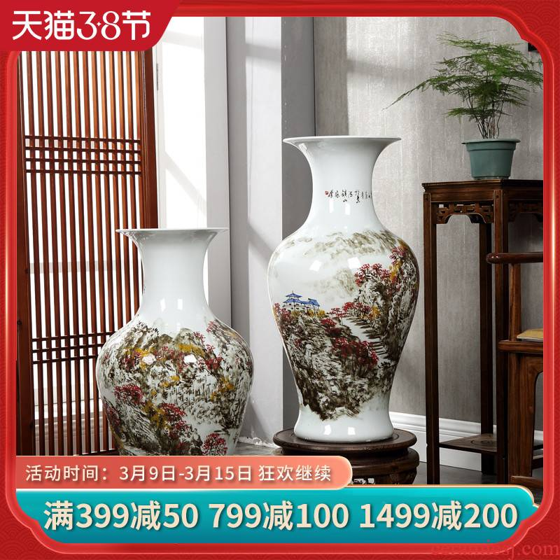 Jingdezhen famous Wan Shanqian hand - made ceramic floor large vase red home sitting room hotel adornment furnishing articles