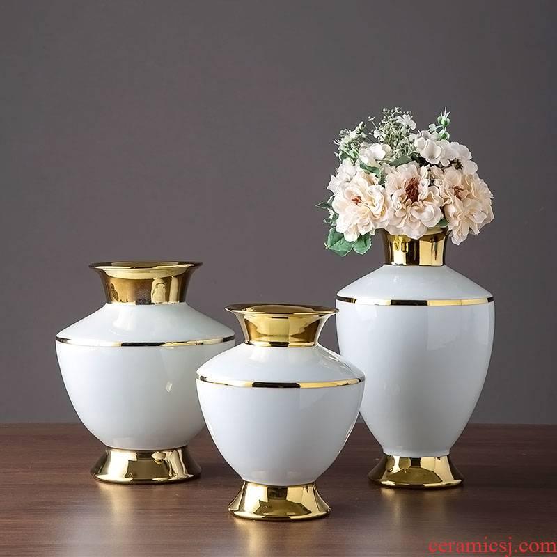 Light key-2 luxury jingdezhen ceramic vase villa furnishing articles between example Europe type TV ark, wine cabinet decoration home decoration