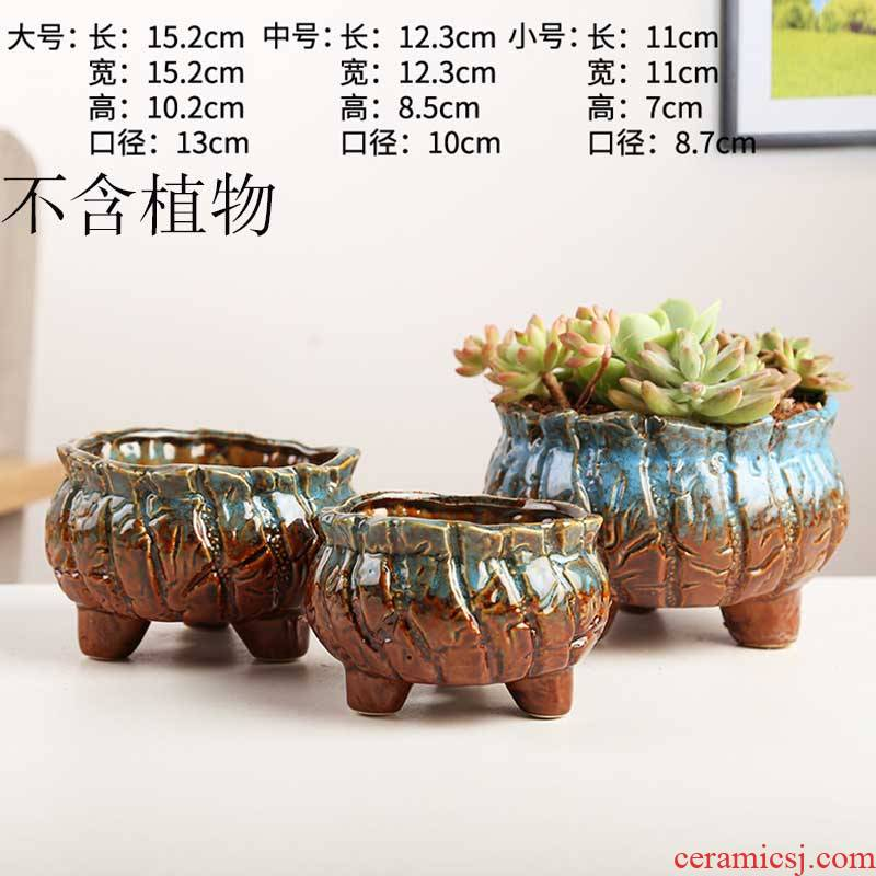 Breathable creative household green plant money plant orchid coarse ceramic flower pot European - style fleshy basin of the old running the super - large special move