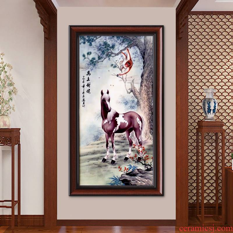 Jingdezhen famille rose porcelain plate painting the living room sofa setting metope porch decoration horse mural vertical version of animals