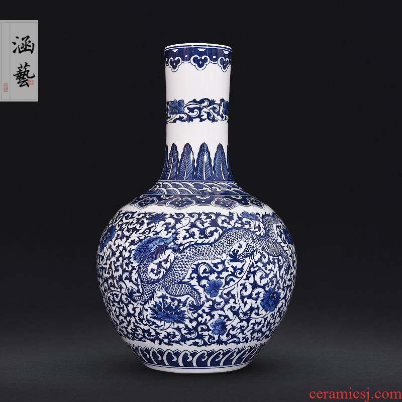 Jingdezhen ceramic hand - made porcelain bound branch longfeng large vases, new Chinese style flower arrangement sitting room adornment handicraft furnishing articles