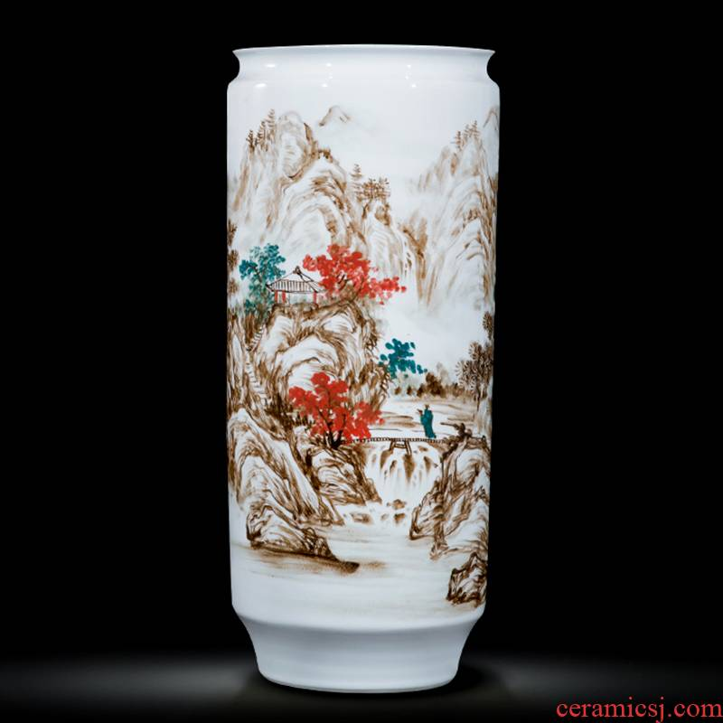 Jingdezhen ceramics celebrity hand - made the master of landscape painting large cylinder vase home sitting room office furnishing articles