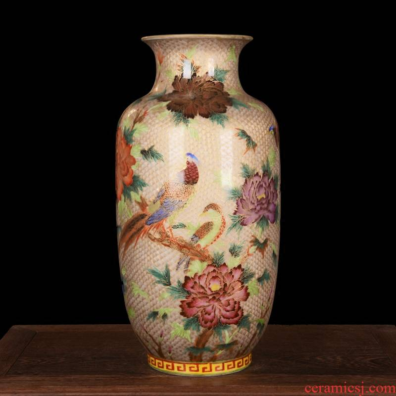 Jingdezhen ceramic high - end antique gold peony birds idea gourd vases home decoration process sitting room furnishing articles