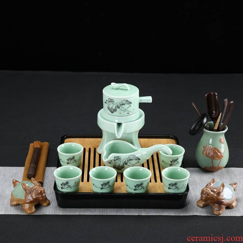 Celadon half automatic lazy ceramic stone mill home tea tea sets the teapot teacup tea tray tea pet accessories