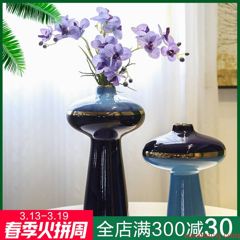 Light key-2 luxury furnishing articles ceramic vase simulation flower arranging new Chinese style household TV ark home sitting room porch decoration ornament