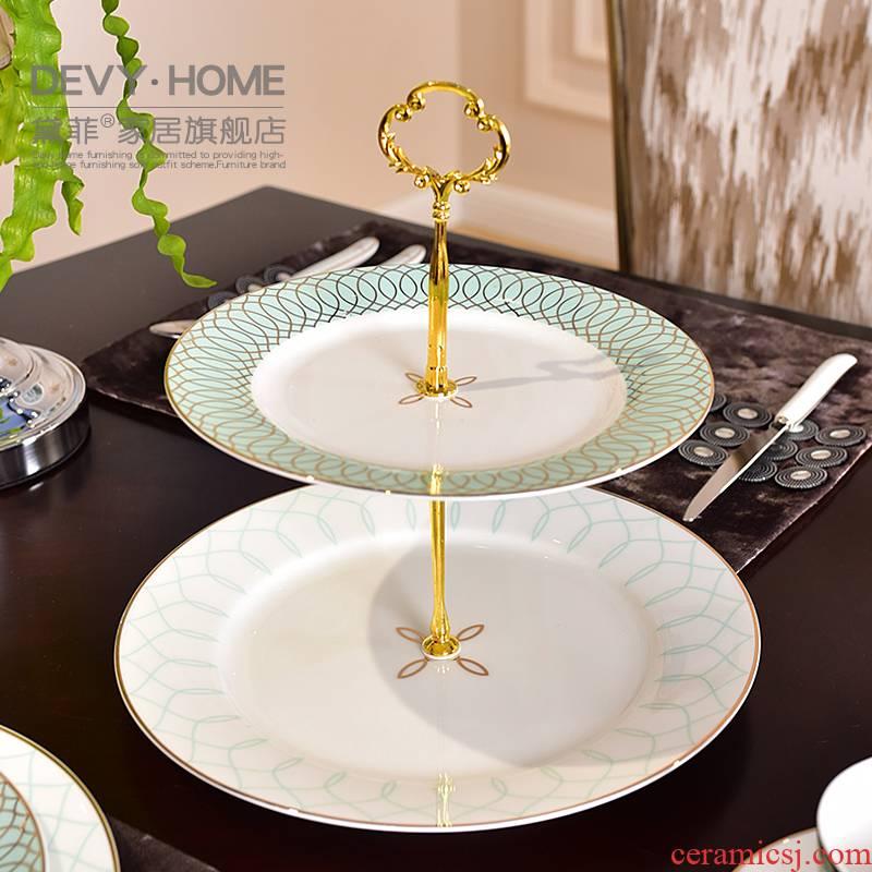 American light key-2 luxury double ceramic fruit bowl European - style key-2 luxury Chinese pastry disc dry fruit tray table decoration furnishing articles