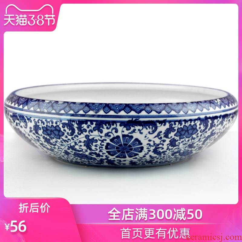 Ceramic aquarium place jingdezhen blue and white turtle household act the role ofing is tasted cylinder shallow water lily birdbath hallway desktop decoration