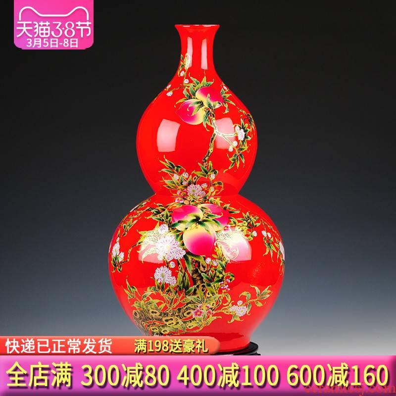 Jingdezhen ceramics China red live figure gourd vase of large sitting room adornment handicraft furnishing articles
