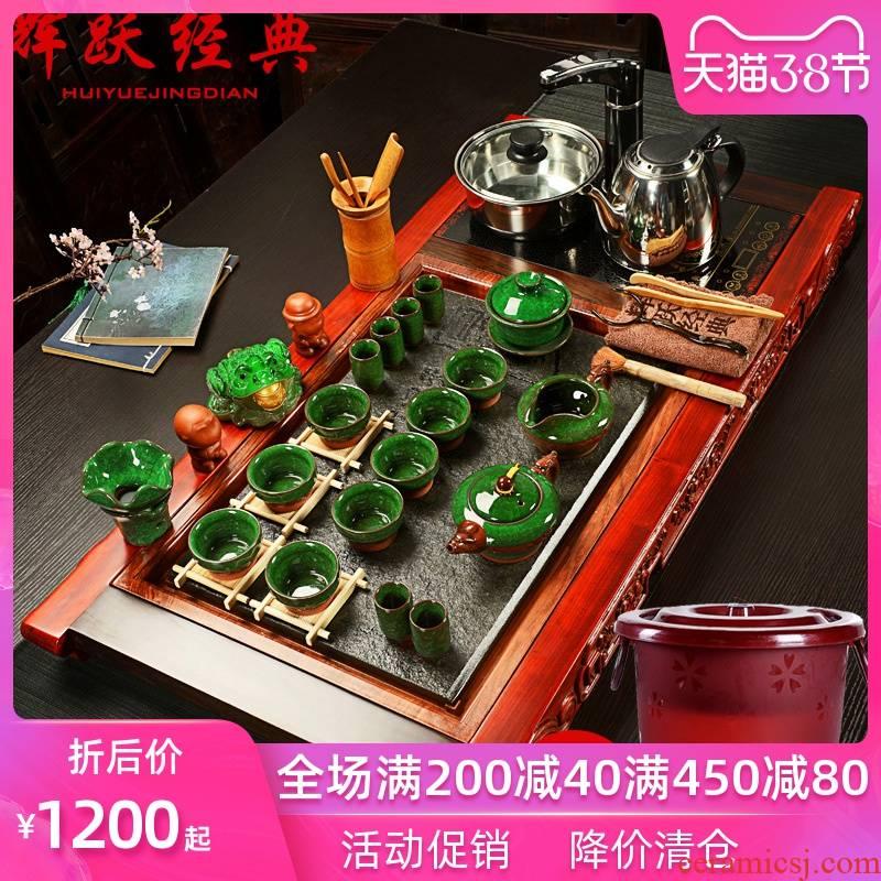 Hui, make ice crack tea set sharply violet arenaceous stone kung fu tea sets four unity of hua limu tea tray