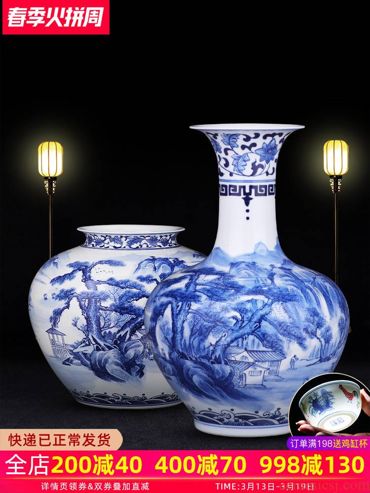Big blue and white porcelain vase furnishing articles hand - made porcelain of jingdezhen ceramics son sitting room of Chinese style household flower decorations