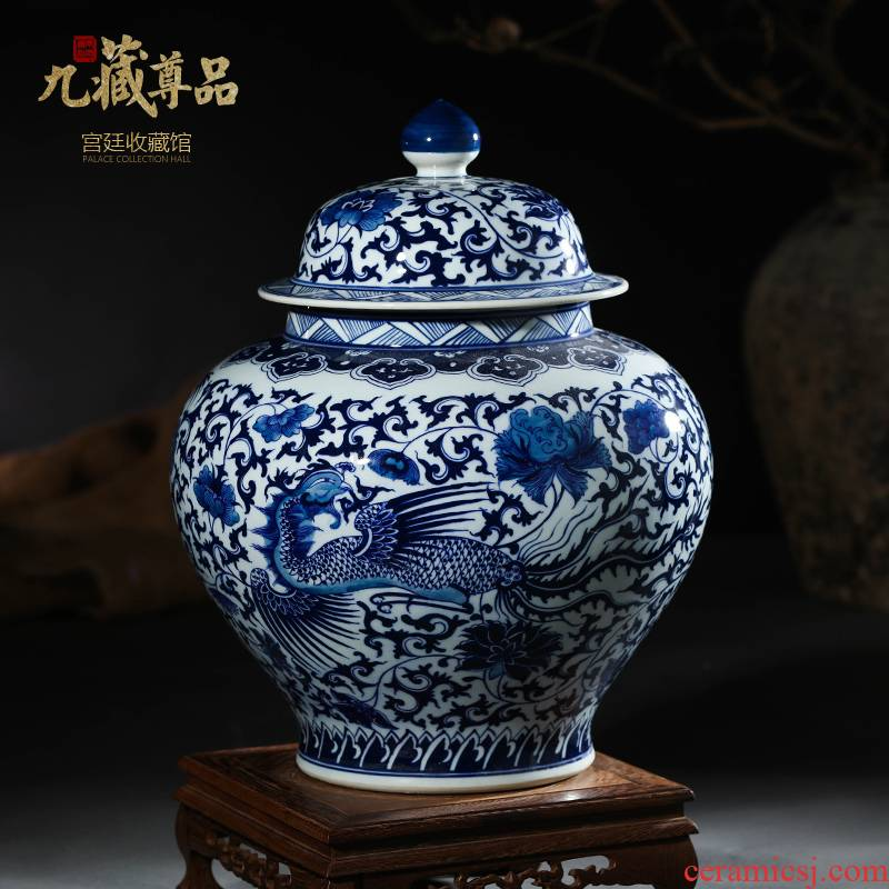 Jingdezhen ceramic vases, antique hand - made longfeng general put lotus flower pot cover of blue and white porcelain porcelain flowers, furnishing articles