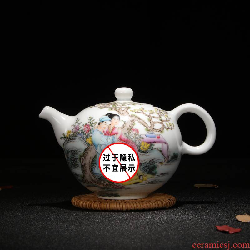 Jingdezhen chinaware sample tea cup hand - drawn characters powder enamel POTS all hand teapot kung fu tea pot