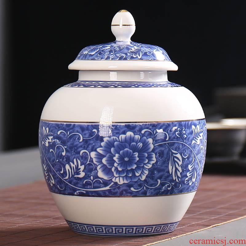 Devoted to inflammation puer tea blue small tea pot receives general ceramic large seal pot household porcelain restoring ancient ways