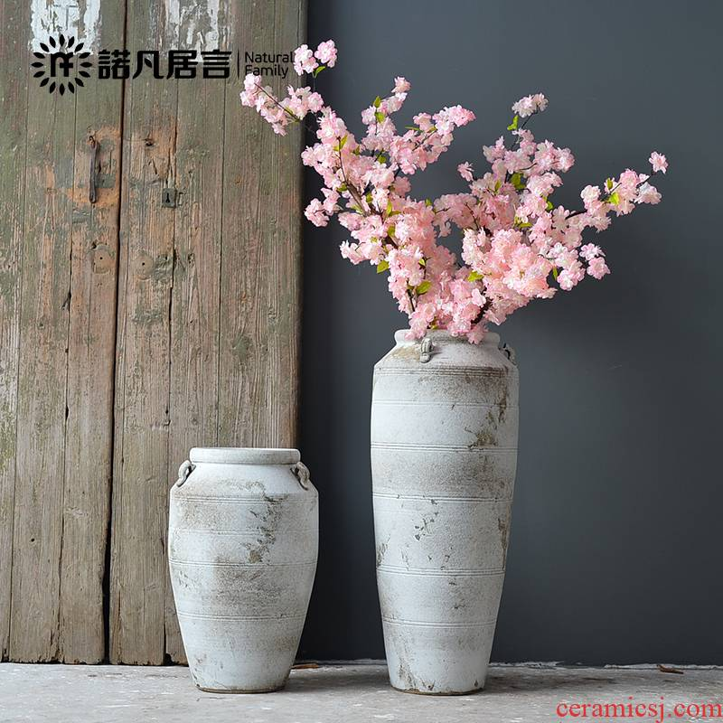 The ground ceramic vase large furnishing articles dried flower arranging flowers northern rural contracted sitting room adornment ornament white restoring ancient ways