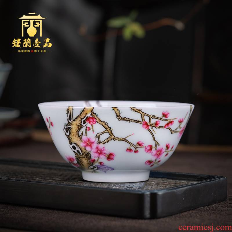 Jingdezhen ceramic hand - made pastel wall pass the name plum flower sample tea cup kung fu tea cups individual CPU master cup single CPU