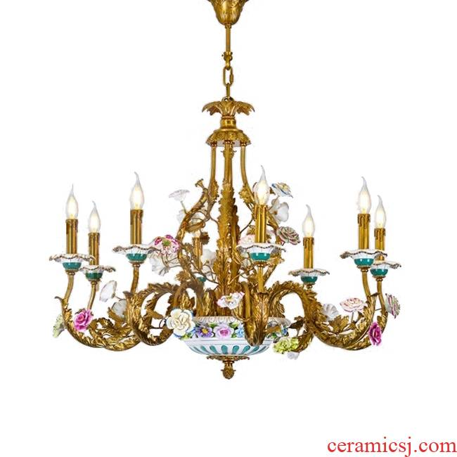 French full copper chandelier European - style key-2 luxury bedroom sitting room, dining - room lamp pure copper ceramic flower princess romantic villa, lamps and lanterns