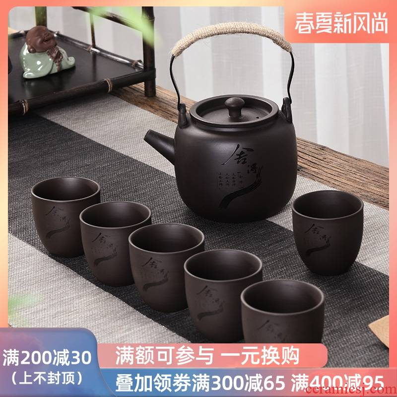 Restoring ancient ways is a complete set of the run of mine ore purple sand pot of girder kung fu tea set suit household teapot cup cold water mass
