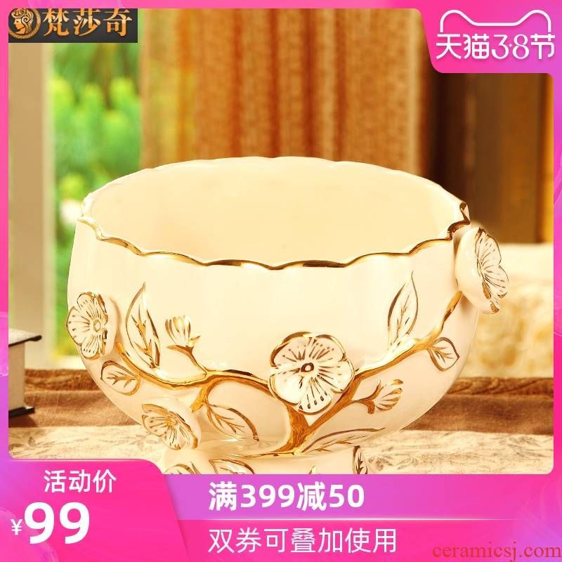Vatican Sally 's key-2 luxury home sitting room tea table desktop bin European ceramic bowl of small rubbish skin receive barrels