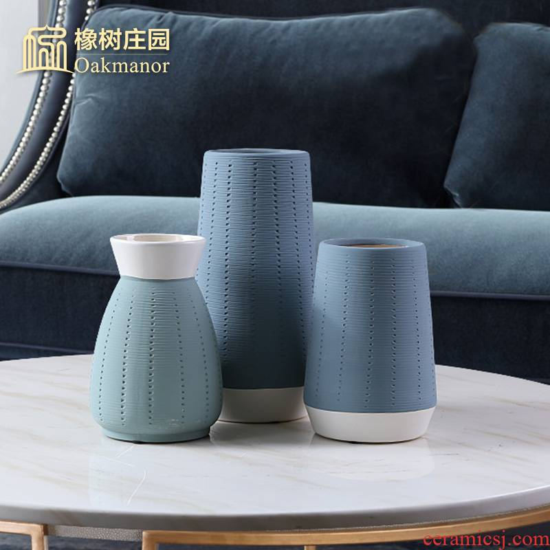 The Nordic idea blue porcelain vase furnishing articles contracted sitting room dried flowers, flower arrangement, tea table table small pure and fresh and decoration