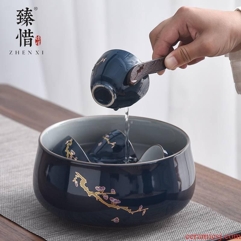"""Precious little ji blue tea leaf - cylinder washing kung fu tea tea tea tray tea accessories writing brush washer wash water jar ceramic cup size"