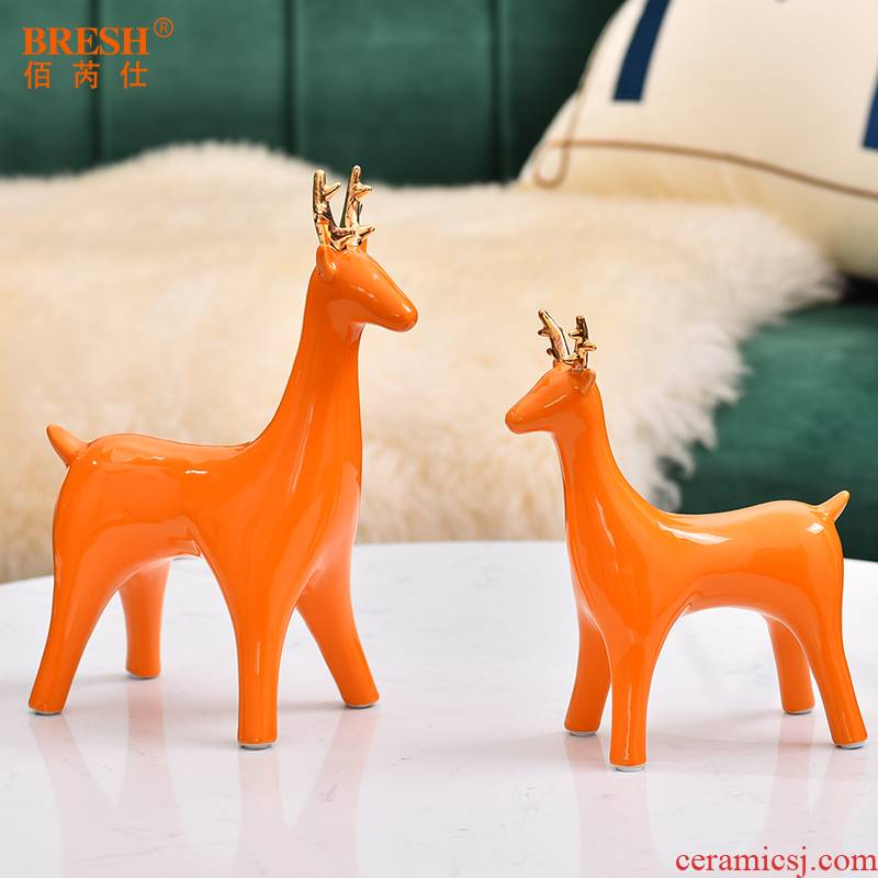 Light and decoration ideas ceramic fawn furnishing articles sitting room home indoor adornment of TV ark, wine in the coma