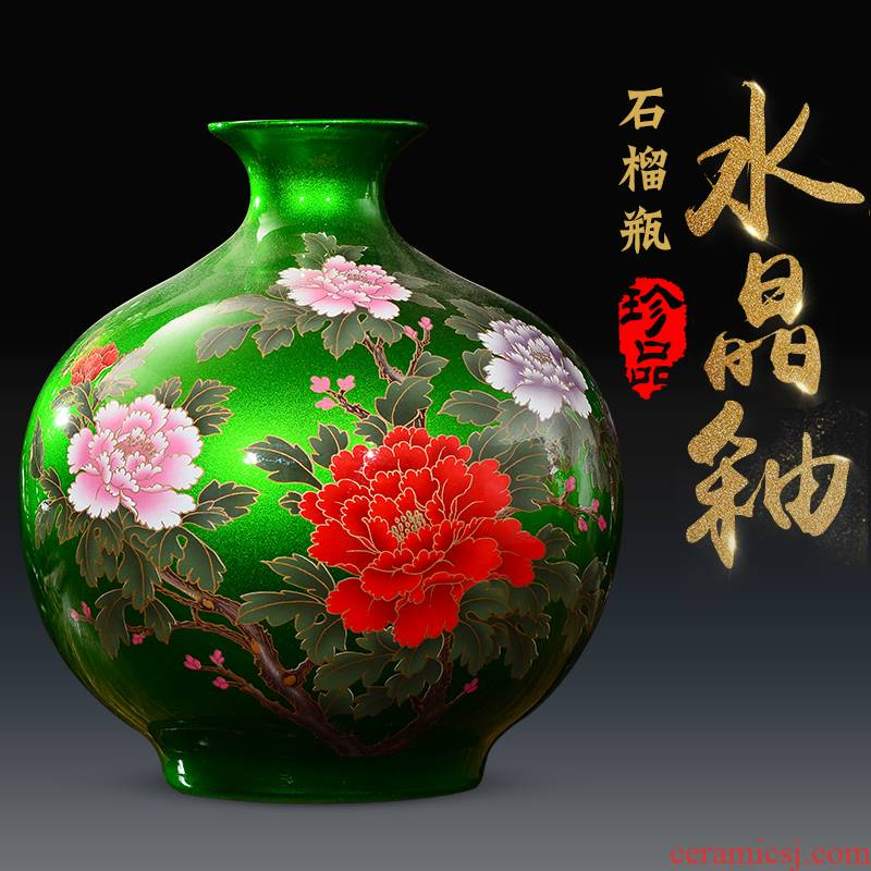 Jingdezhen ceramics glaze crystal flower vase living room TV ark, furnishing articles of the new Chinese style household wine accessories