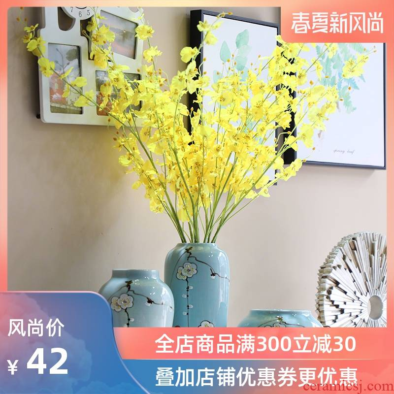 Jingdezhen hand - made powdery cyan name plum flower ceramic vases, Chinese style living room TV cabinet household adornment handicraft furnishing articles