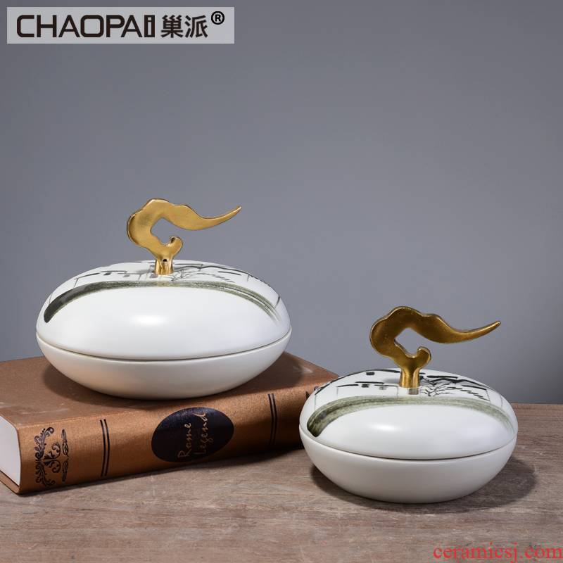 New Chinese style landscape pastoral storage tank with cover club hotel soft ceramic handicraft ornament sample room