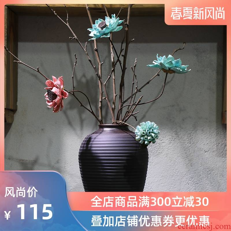 Coarse pottery hand throwing old firewood straightforward style earthenware do old pottery flowerpot vase flower, dried flower POTS