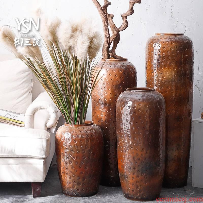 North European American ceramic vase, the sitting room of jingdezhen ceramic cylinder landing large furnishing articles pottery flowerpot flower arrangement