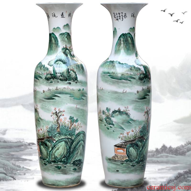 Jingdezhen hand - made pastel landscape ceramic large vases, large sitting room adornment hotel furnishing articles