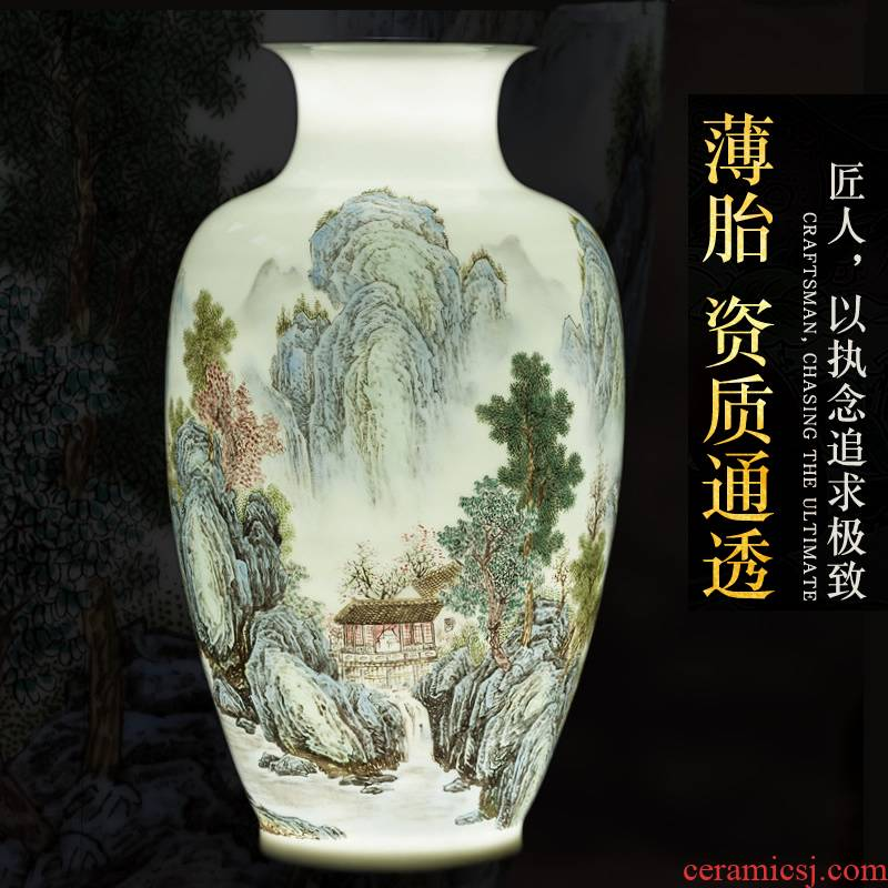 Jingdezhen ceramic vase furnishing articles of new Chinese style landscape painting of flowers and birds in the sitting room porch decoration decorative porcelain flower arranging art