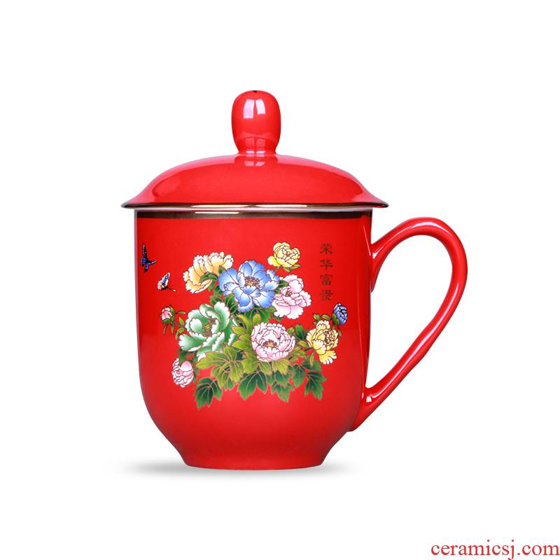 Chinese red porcelain liling porcelain red thousand red up ceramic cups with cover ipads China office cup custom gifts cups