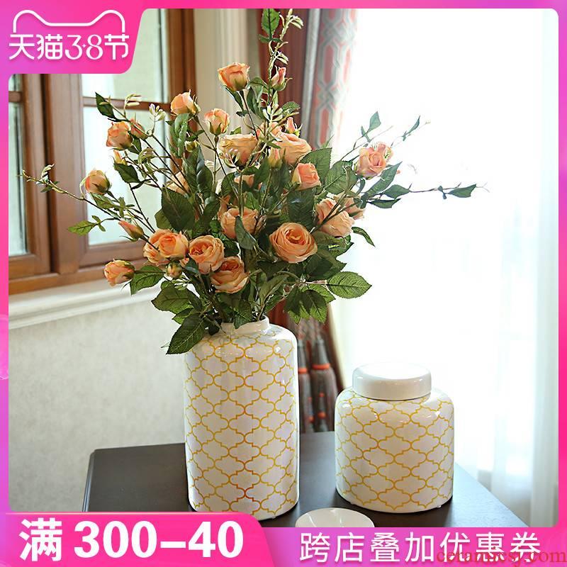 Europe type TV ark, vase furnishing articles ceramic flower arrangement table decorations American mattress in the sitting room porch desktop decoration
