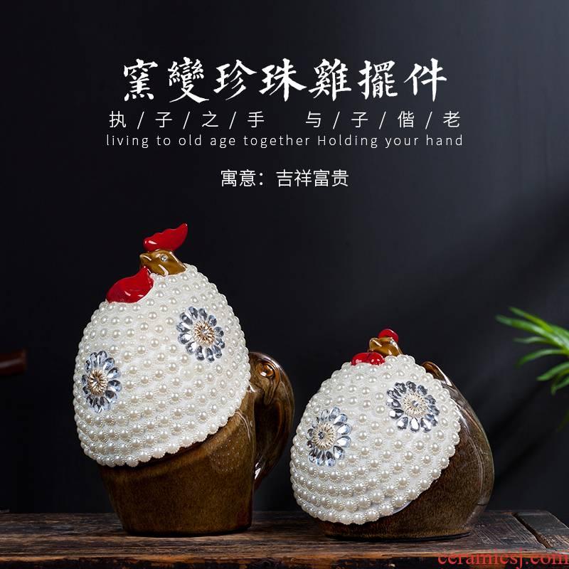 Jingdezhen ceramic up guinea fowl new sitting room of Chinese style household wine creative furnishing articles furnishing articles craft ornaments