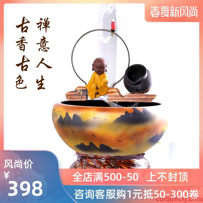 Jingdezhen ceramic aquarium water fountain lucky zen household filtered water and furnishing articles turtle cylinder goldfish bowl