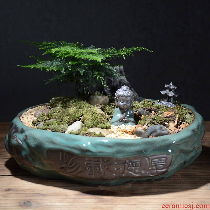 Creative elder brother up with ceramic bracketplant potted bonsai POTS Chinese wind indoor household fleshy green money plant flower pot the plants